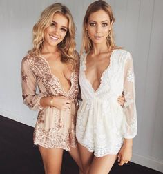 ♡ Gold Sequin Embroidery Party Elegant Jumpsuit Romper ♡