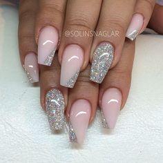 Свадебный двухцветный маникюр с блестками на длинные ногти; розовый и серебристый лак; wedding two color nails; wedding manicure; pink and silver nail polish; manicure with sparkles; long nails.