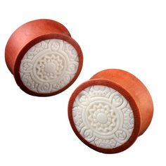 Double Flare Sawo Wood Laser Cut Tribal Design Plug Gauges