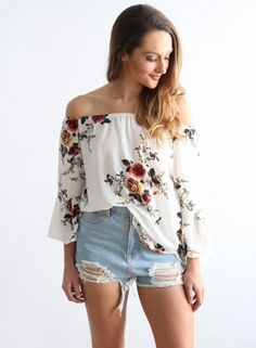 off the Shoulder Flare Sleeve Floral Printed Blouse - OASAP.com