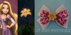 """Rapunzel Inspired Glitter Hair Bow - """"Magic Golden Flower"""""""