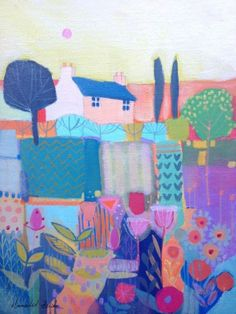 Original Acrylic Painting on Canvas House with Flowers - Signed Annabel Burton