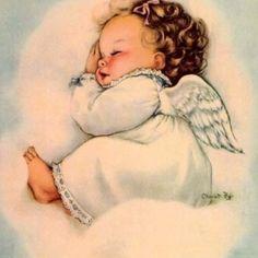 Baby angel on cloud