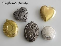 5 Locket Pendants Hearts and Mixed Shapes and by SkylineBeads, $2.95