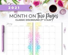 2021 Printable Rainbow Monthly Calendar Insert for Classic image 0 Weekly Planner Printable, Monthly Planner, Watercolor Splatter, Mini Happy Planner, Printer Paper, Planner Inserts, Hourglass, Planner Ideas, Calendar