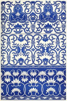 Borders from blue-and-white china bottles. From Examples of Chinese ornament, by Owen Jones, London,