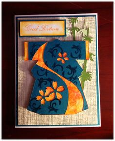 handmade greeting card ... paper cut kimono in blue and orange ...