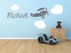 Biplane Airplane Monogram Name Vinyl Wall Decal by StickerHog, $36.99
