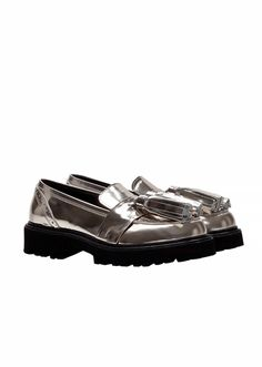 MSGM :: Shop Online - Shoes - Metallic silver leather loafers