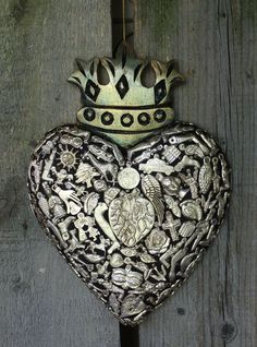 Heart with Crown covered with Silver Milagros Miracle Folk Art Michoacán Mexico