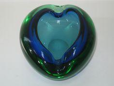 $49.95. Lg Murano Blue Green Uranium Sommerso Ovoid Bowl - Mid Century Italian Art Glass. $49.95, via Etsy.