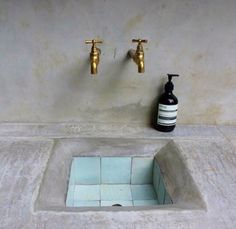 Concrete and tile sink