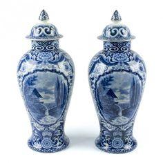 la Bodega Antiques.Antique Dutch Delfts Blue baluster vases porcelain by Société Céramique Maestricht. Lovely landscape decoration.