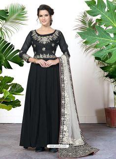 fa96088ab5 Scintillating Black Embroidered Designer Anarkali Suit