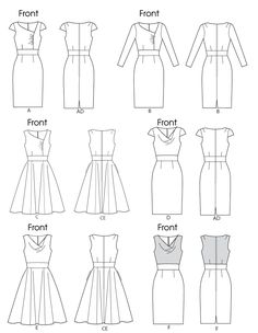 Vogue Patterns 8787 Misses Dress Line Drawing
