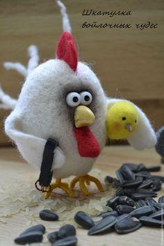 """Купить """" Птичий двор"""" - комбинированный, валяная игрушка, валяние из шерсти, курочки, петушки"""