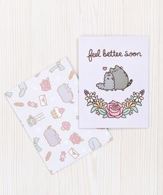 Pusheen is the star ofPusheen.com!This adorable card is the perfect way to show you care.Great for fans of the comic and cat lovers alike! Card measures 4.25