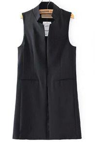 Black Stand Collar Pockets Long Vest