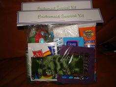 Bridesmaid Kit includes:    Sunscreen  Antibacterial gel  Lotion  Mouthwash  Colgate Wisp (mini toothbrush)  Shout wipes  Tissues  Shine erasers  Bobby pins in cardstock  Safety pins on ribbon  I got tote bags from Michaels, wrote each of their names on then in fabric paint and included the Survival Kits, Make-Up wipes, Mini Lint Rollers and silver Flip-flops. In my MOH's bag I also included extra tissues, a sewing kit and double sided tape incase someone else at the wedding needed it.    I…