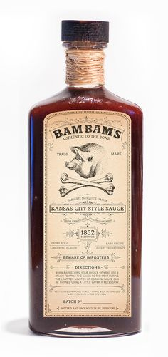 Bam Bam's is an authentic BBQ brand that uses the same methods as the old days when bbq was invented. Food Packaging Design, Bottle Packaging, Brand Packaging, Packaging Ideas, Bbq Brands, Bbq Pitmasters, Cooking Sauces, Bbq Ribs, Barbecue