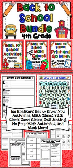 Back to School Activities BUNDLE (4th Grade) Start the beginning of the year off with a bang! This 125 page pack has 50+ pages of ice breaker activities, get to know you activities, task cards, Scoot games, first day activities, and much more! There are also 10 + print and play math games and 20 print and go back to school, no prep math pages! Also available for 3rd and 5th grades. $
