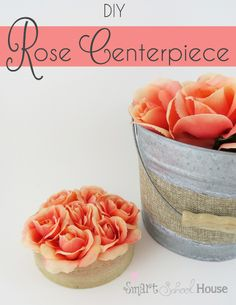 Im such a lover of roses and this simple DIY Rose Centerpiece is no exception!It is extremely easy to make and I got most of the supplies from the dollar store.I love the rustic feel of it and it looks so pretty next to my DIY Flameless Rose Tea Lights.A DIY Rose Centerpiece is the perfect for entertaining and the color options are endless!