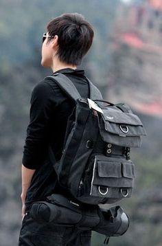 Canvas DSLR SLR Camera Vintage Backpack Bag Casual Laptop Packsack Fr Canon Sony