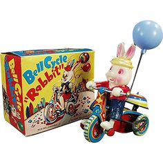 Vintage Wind Up Toy - Celluloid Rabbit on Tin Tricycle with Original Box www.rubylane.com #vintage #vintagetoys #bunny #rabbit #antiques #easter