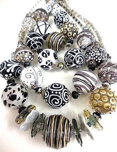 Lampwork Bead Necklaces by Maureen Nugent. Glass Jewelry, Beaded Jewelry, Glass Beads, Jewlery, Polymer Beads, Lampwork Beads, Beaded Statement Necklace, Bead Necklaces, Chunky Jewelry