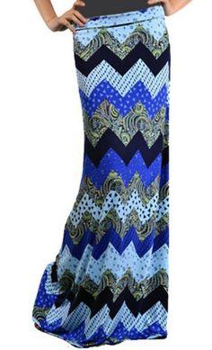 Modest Skirts - Womens Multi print Chevron Maxi Skirt #modestskirts #modesty
