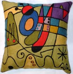 Contemporary Throw Pillows – Miro Carnival, purple