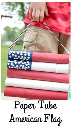 DIY of July Flag Decoration for Kids Love all things red, white, and blue! Use your stash of paper tubes to create a festive American Flag perfect for the of July. Grab the kids and and have fun painting this patriotic decoration. 4th July Crafts, Patriotic Crafts, Patriotic Decorations, Patriotic Party, Preschool Crafts, Crafts For Kids, Preschool Ideas, Fun Crafts, Daycare Ideas