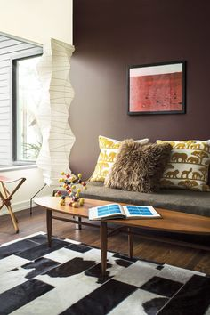 Family Room / Study in Benjamin Moore Incense Stick Paint Color #2115-20 // Color Trends 2018