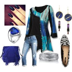 """Arizona - Aqua, Blue and Black"" by suziq-lthrs on Polyvore"