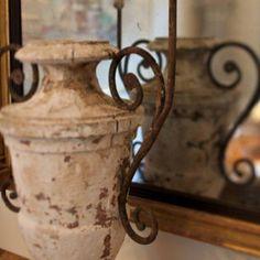 Interior design: Annelle Primos,  18th Century wooden urn.