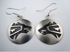 Sterling Silver Snarling Wolf Earrings