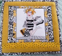 "Mug Rug Hot Mat Loralies Lady ""Bee Happy"" Potholder Quilted Pieced Fun Gal 