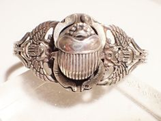 Vintage Sterling Silver Egyptian Revival Raised Scarab Cuff Bracelet #Cuff