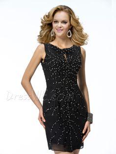 Fabulous SheathNecklineColumn ShortBeadingsMini Beadings Bateau Neckline  CocktailMiniEvening Dress,195.99,