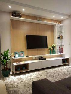 Amazing Modern TV Wall Decor Idea for Living Room Design Look Luxury - Istri Sholehah Tv Unit Decor, Tv Wall Decor, Wall Tv, Room Interior Design, Living Room Interior, Living Room Decor, Living Rooms, Hall Room Design, Tv Wall Ideas Living Room