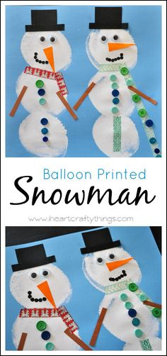 Make a snowman craft by printing balloons and decorating them. From I Heart Crafty Things