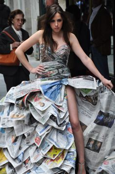 Newspaper dress-read between the lines...clever repurposing!
