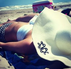 monogrammed beach hat - I don't usually go for monogrammed things but this is kinda cute!