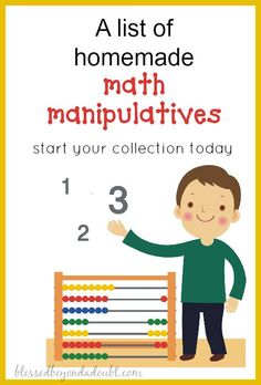 Start making math manipulatives for teaching math today. A must for all homeschoolers and teachers!