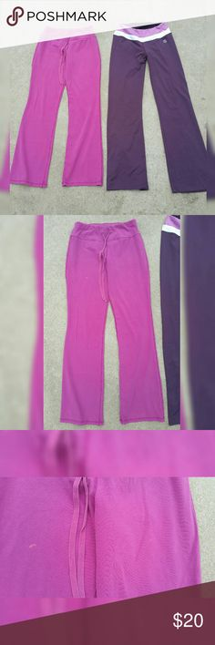 LOT OF 2 PAIR SIZE SMALL YOGA WORKOUT GYM PANTS Balance collection -purple Pink pants by NY & CO -Small spot as shown  Both size small   Both show minor wear.   Sold used as is as shown   Please ask questions before buying  No returns  All sales final New York & Company Pants Track Pants & Joggers