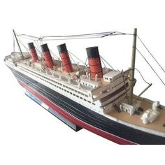 """Handcrafted Nautical Decor 30"""" RMS Mauretania with LED Lights Limited Model Cruise Ship"""