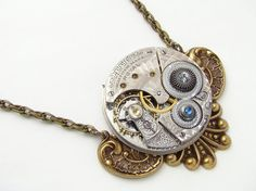 This necklace is made from an antique pocket watch. So cool!