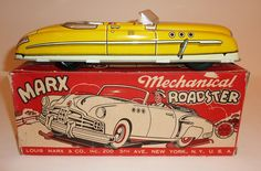 MARX Tin Litho Wind-Up MECHANICAL ROADSTER / CONVERTIBLE with BOX ~ 11-inch