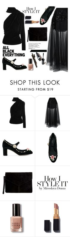 """""""how I style it"""" by nataskaz ❤ liked on Polyvore featuring Gareth Pugh, Elie Saab, Dolce&Gabbana, Miss Selfridge, Bobbi Brown Cosmetics and allblackoutfit"""