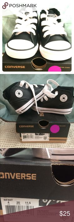 Converse classic midtop infant shoes unisex Unisex, classic converse, hard sole, never worn, black/white. Size 4 US INF. Converse Shoes Baby & Walker